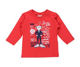 Immagine di T-Shirt in Jersey Rosso con Stampa - Brums