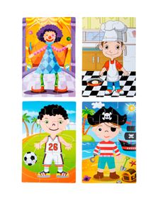 Immagine di Puzzle 4 in 1 Ragazzi in Costume da Travestimento - Small Foot