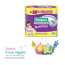 Salviettine Pampers Sensitive Progressi – IN OMAGGIO ZAINO e METRO